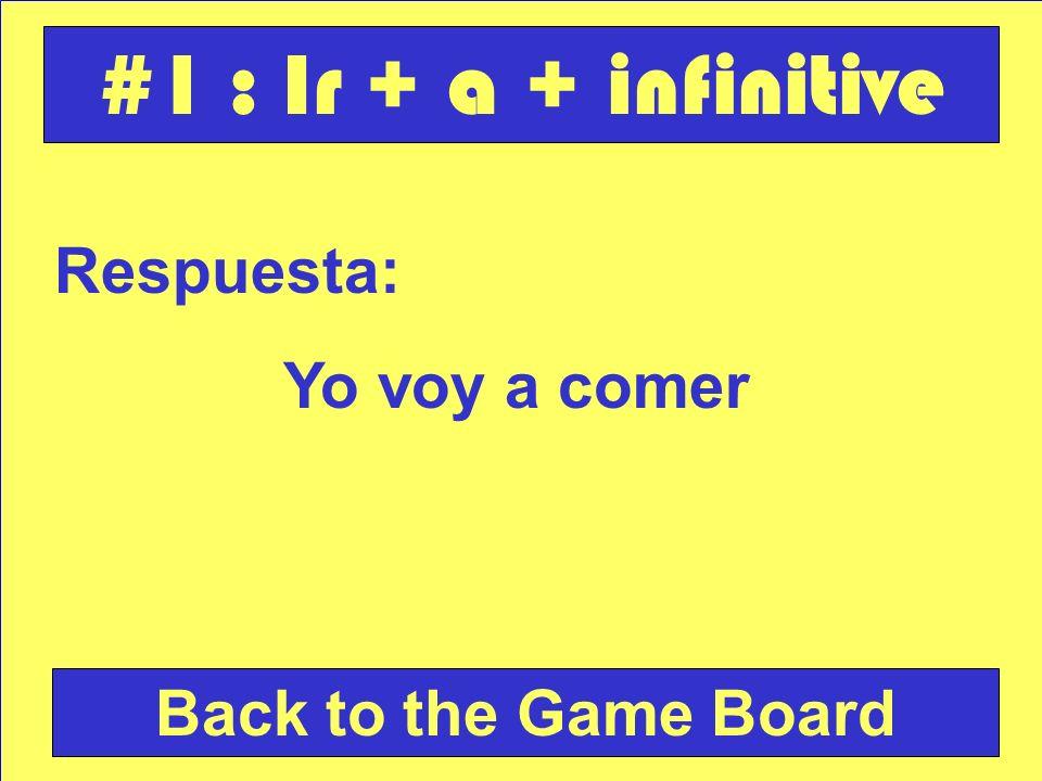 Respuesta: Yo voy a comer Back to the Game Board #1 : Ir + a + infinitive