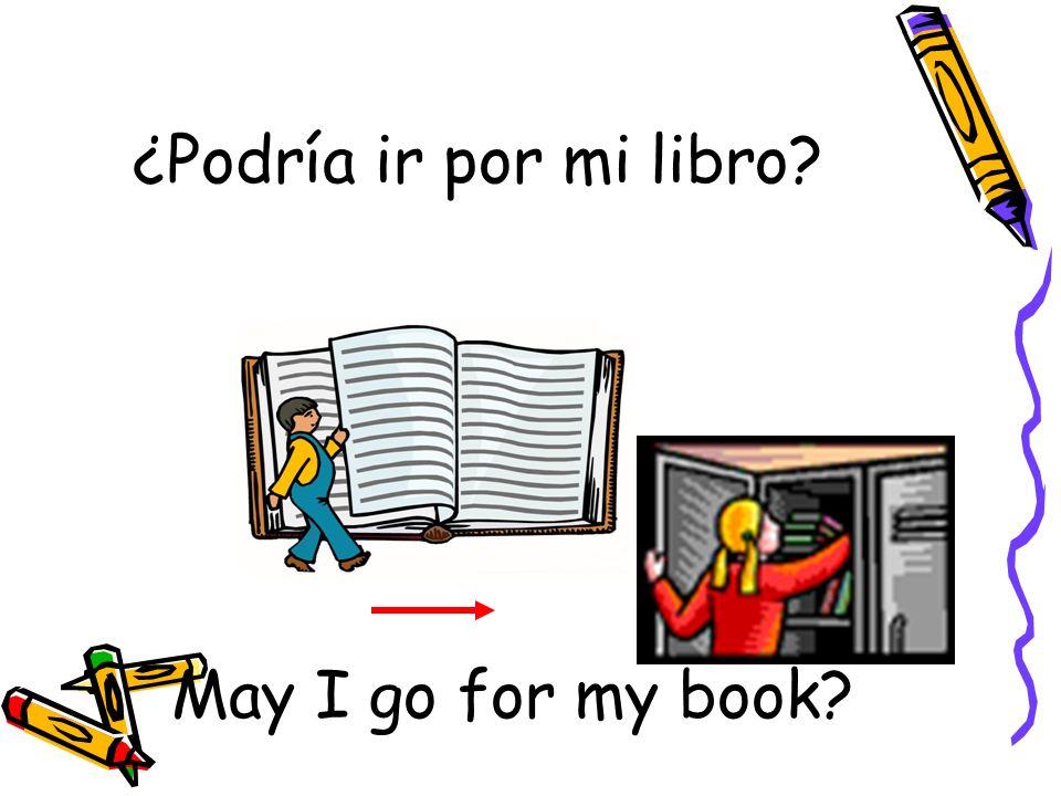 ¿Podría ir por mi libro? May I go for my book?