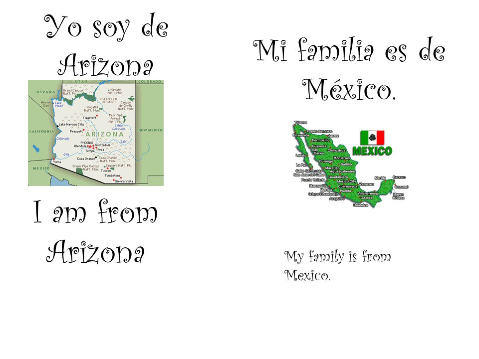Yo soy de Arizona I am from Arizona Mi familia es de México. My family is from Mexico.
