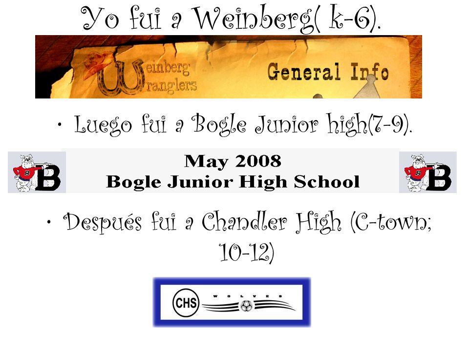 Yo fui a Weinberg( k-6). Después fui a Chandler High (C-town; 10-12) Luego fui a Bogle Junior high(7-9).