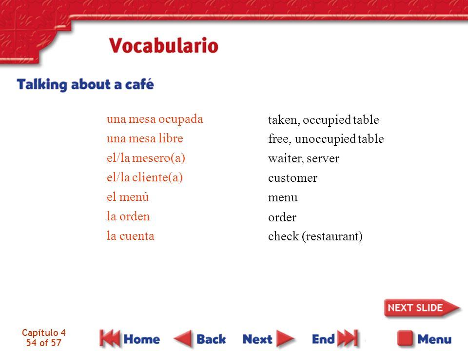 Capítulo 4 54 of 57 una mesa ocupada una mesa libre el/la mesero(a) el/la cliente(a) el menú la orden la cuenta free, unoccupied table waiter, server