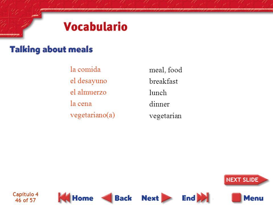 Capítulo 4 46 of 57 la comida el desayuno el almuerzo la cena vegetariano(a) meal, food breakfast lunch dinner vegetarian