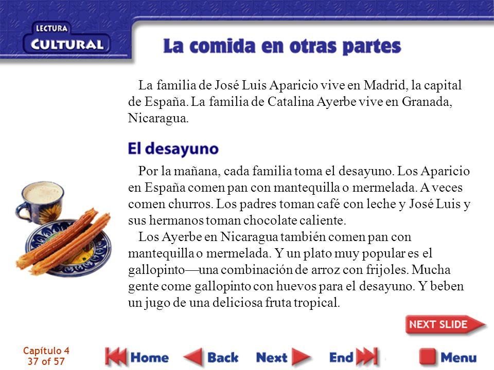 Capítulo 4 37 of 57 La familia de José Luis Aparicio vive en Madrid, la capital de España. La familia de Catalina Ayerbe vive en Granada, Nicaragua. P