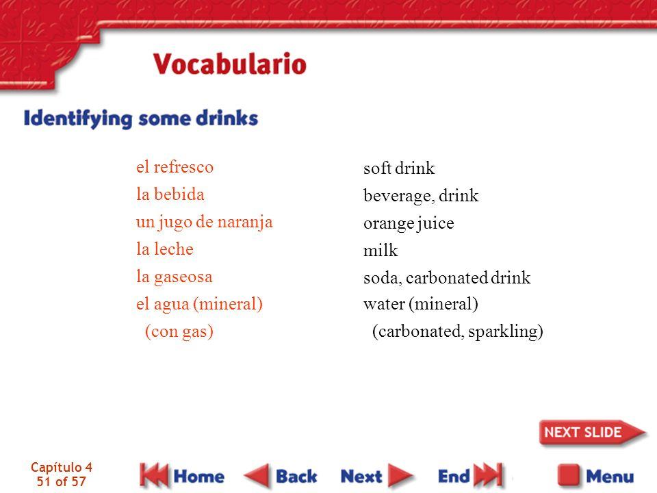 Capítulo 4 51 of 57 el refresco la bebida un jugo de naranja la leche la gaseosa el agua (mineral) (con gas) soft drink beverage, drink orange juice m