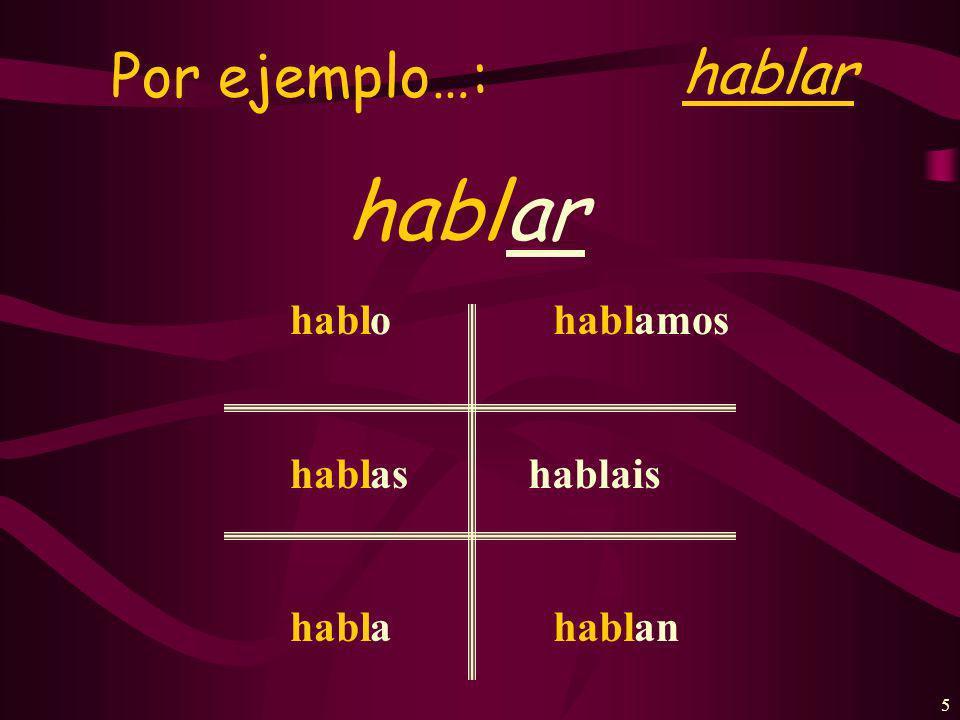 5 Por ejemplo…: hablar hablar habl hablais habl o as a amos an
