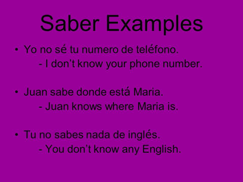 Conocer Examples Yo no conozco a Maria.- I dont know Maria.