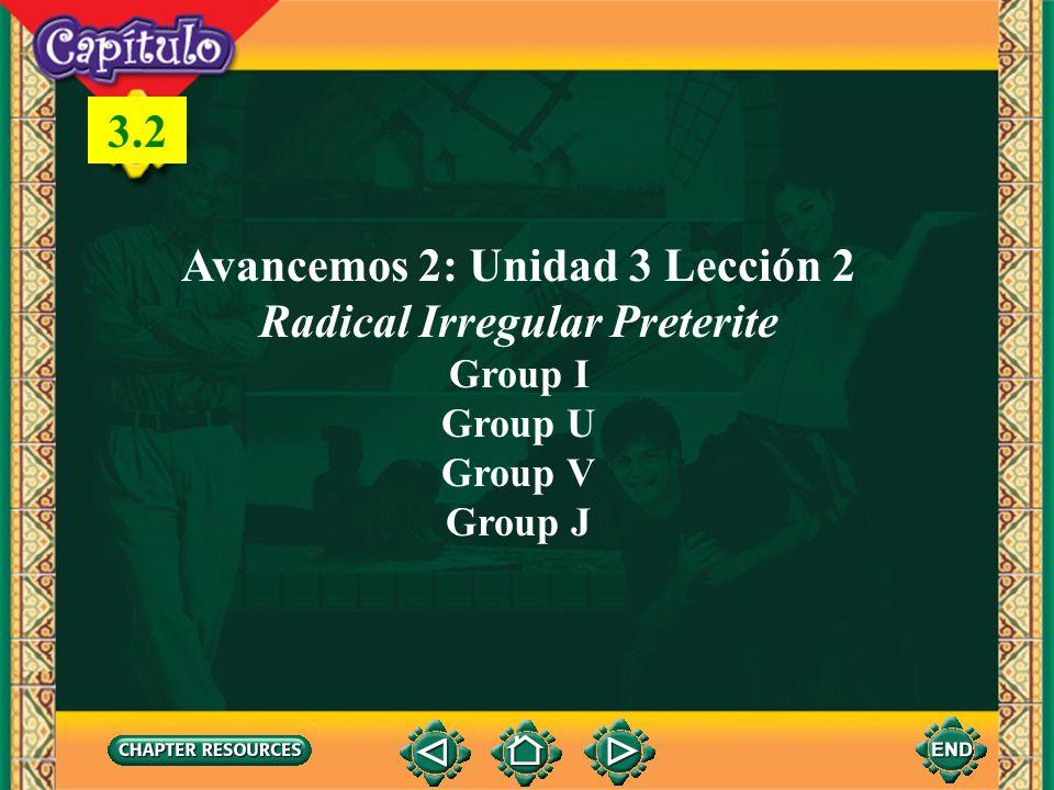 1 Avancemos 2: Unidad 3 Lección 2 Radical Irregular Preterite Group I Group U Group V Group J 3.2