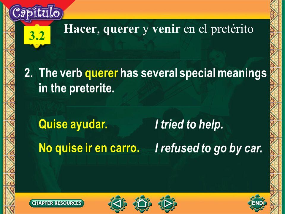 1 Hacer, querer y venir en el pretérito 2. The verb querer has several special meanings in the preterite. Quise ayudar. I tried to help. No quise ir e