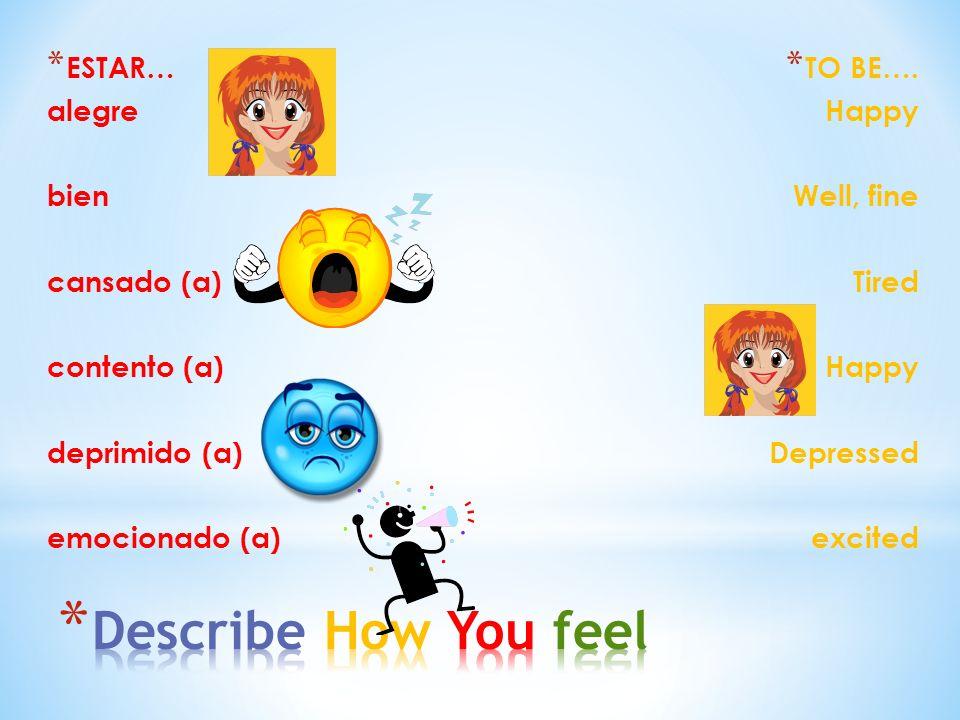 * ESTAR… alegre bien cansado (a) contento (a) deprimido (a) emocionado (a) * TO BE…. Happy Well, fine Tired Happy Depressed excited