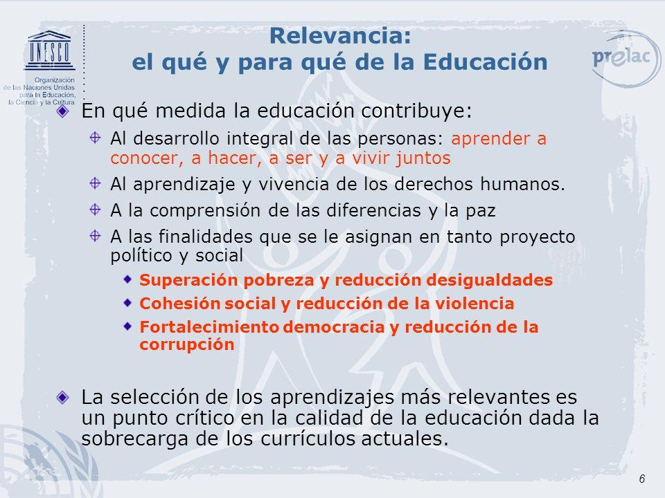 7 Pertinencia La educación ha de ser significativa para las personas de distintos estratos sociales y culturas, y con diferentes capacidades y necesidades educativas para que puedan apropiarse de los contenidos de la cultura mundial y local.