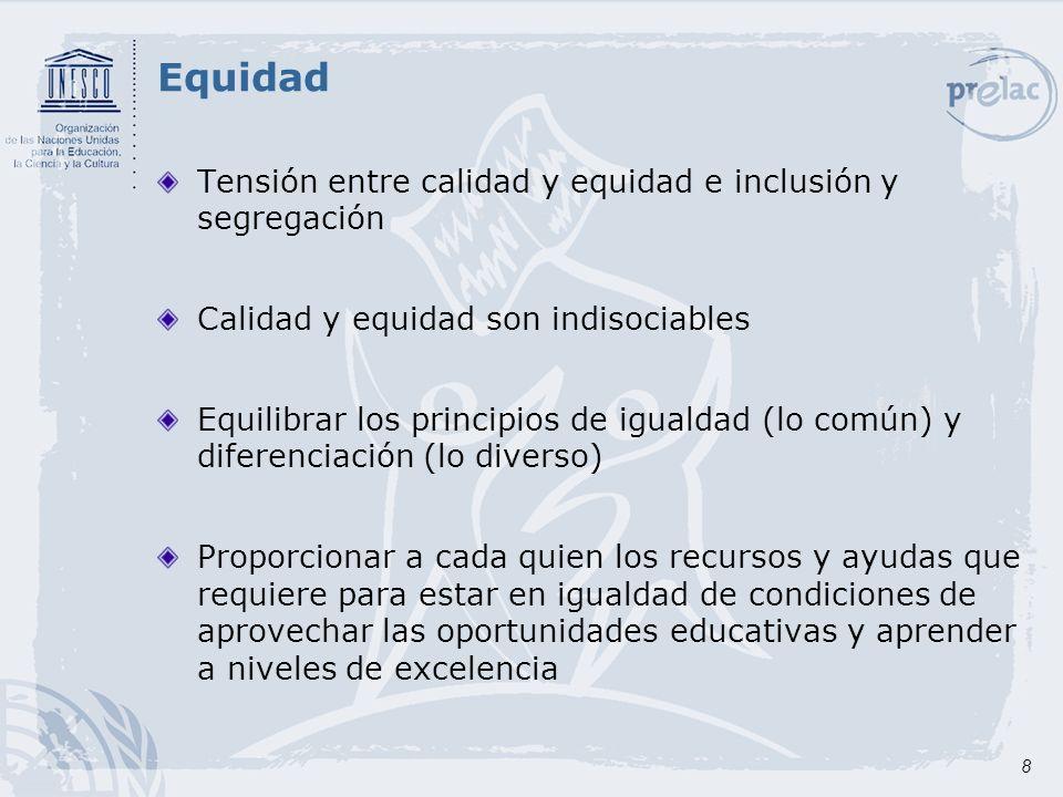 9 Niveles de la equidad en educación Equidad de acceso: Escuelas y programas disponibles a lo largo del país Escuelas y programas accesibles: accesibilidad física, accesibilidad económica.