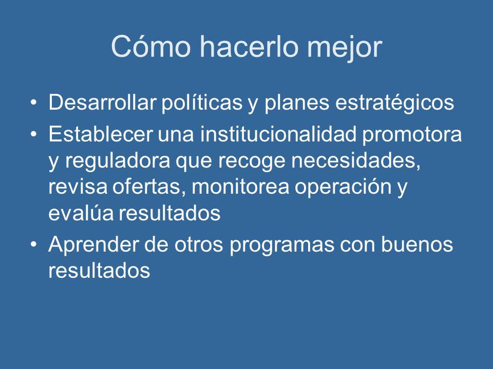 Cómo hacerlo mejor Desarrollar políticas y planes estratégicos Establecer una institucionalidad promotora y reguladora que recoge necesidades, revisa