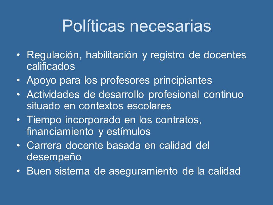 Políticas necesarias Regulación, habilitación y registro de docentes calificados Apoyo para los profesores principiantes Actividades de desarrollo pro