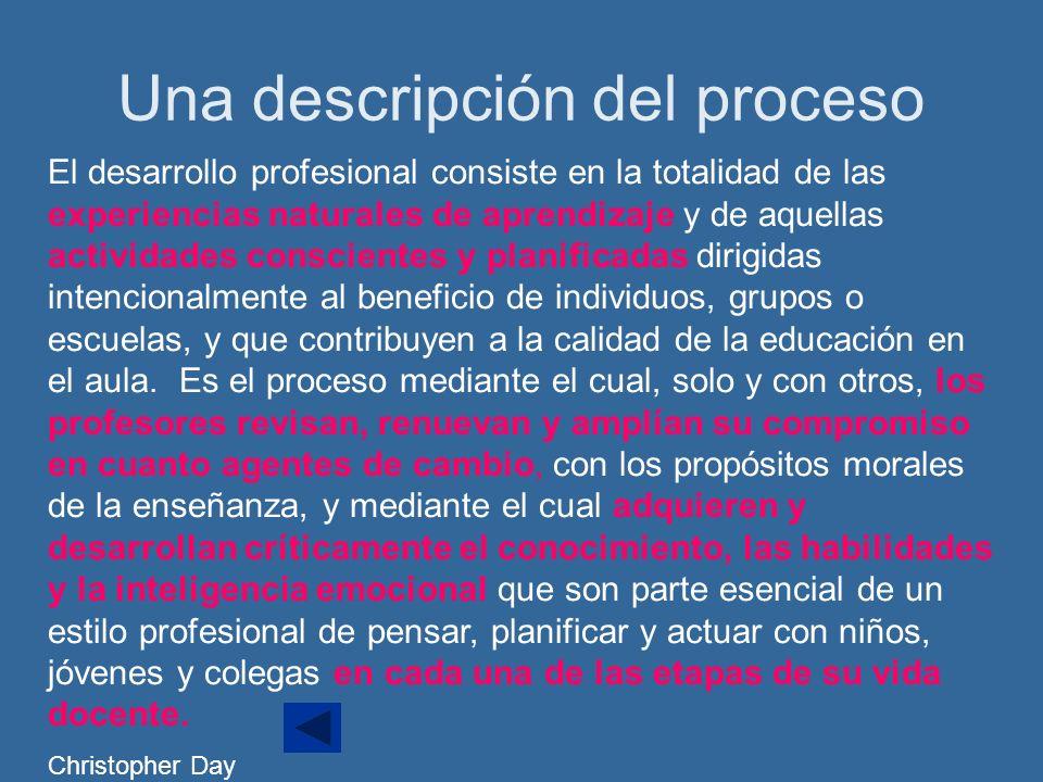 Una descripción del proceso El desarrollo profesional consiste en la totalidad de las experiencias naturales de aprendizaje y de aquellas actividades