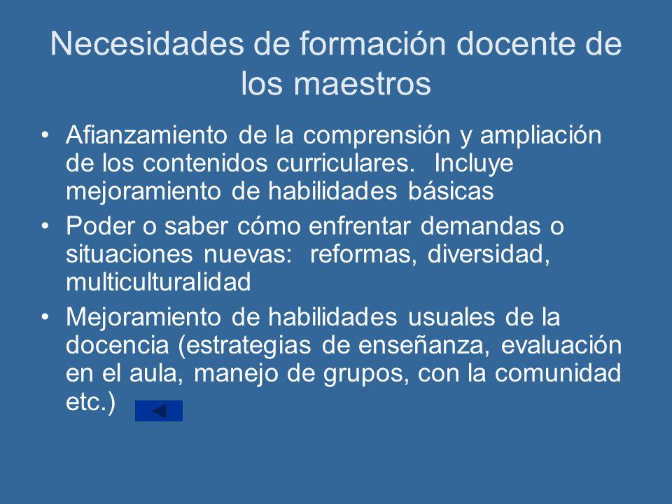 Necesidades de formación docente de los maestros Afianzamiento de la comprensión y ampliación de los contenidos curriculares.