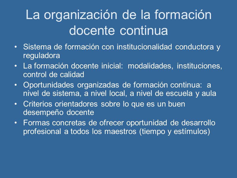 La organización de la formación docente continua Sistema de formación con institucionalidad conductora y reguladora La formación docente inicial: moda