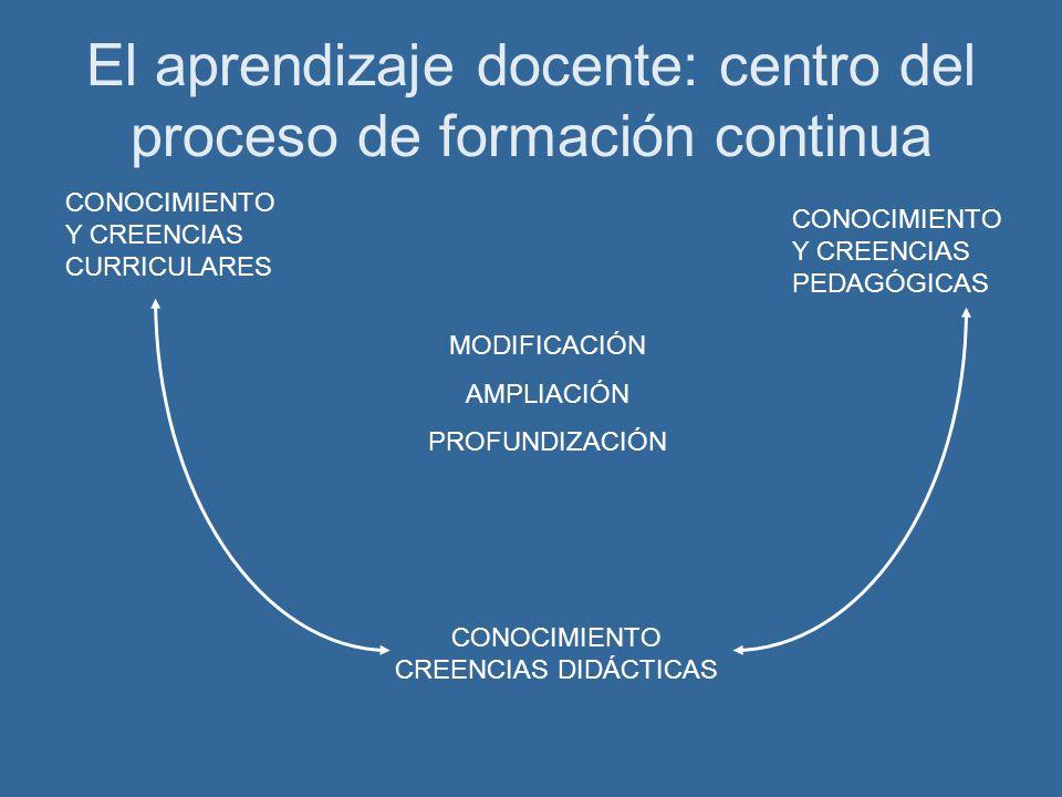 El aprendizaje docente: centro del proceso de formación continua MODIFICACIÓN AMPLIACIÓN PROFUNDIZACIÓN CONOCIMIENTO Y CREENCIAS CURRICULARES CONOCIMIENTO Y CREENCIAS PEDAGÓGICAS CONOCIMIENTO CREENCIAS DIDÁCTICAS