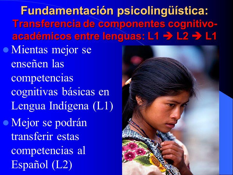 Fundamentación psicolingüística: Transferencia de componentes cognitivo- académicos entre lenguas: L1 L2 L1 Mientas mejor se enseñen las competencias