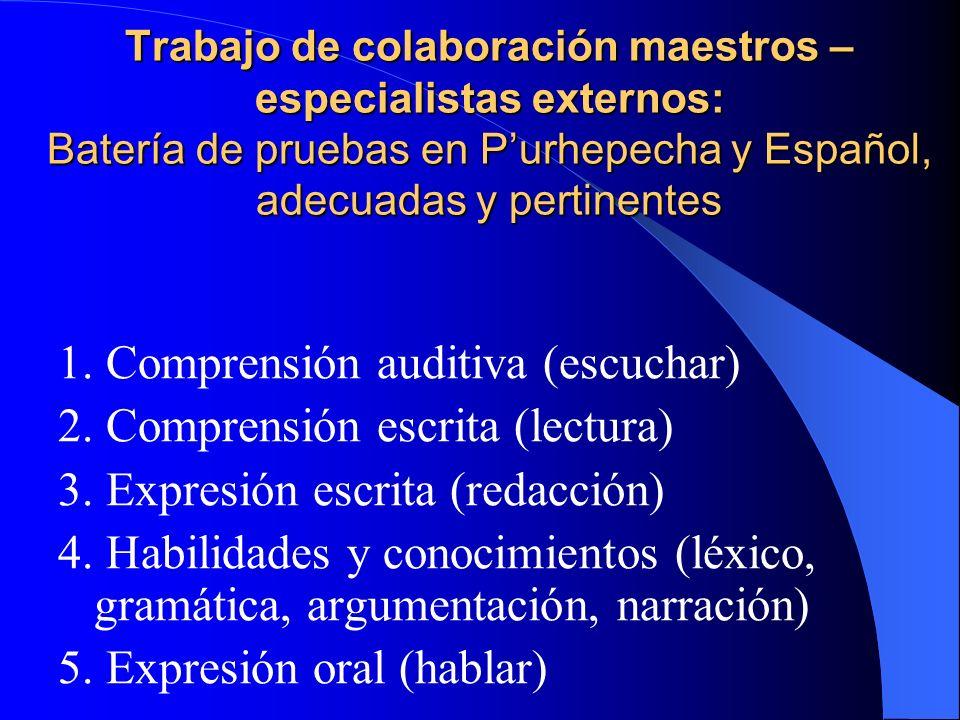 Trabajo de colaboración maestros – especialistas externos: Batería de pruebas en Purhepecha y Español, adecuadas y pertinentes 1. Comprensión auditiva