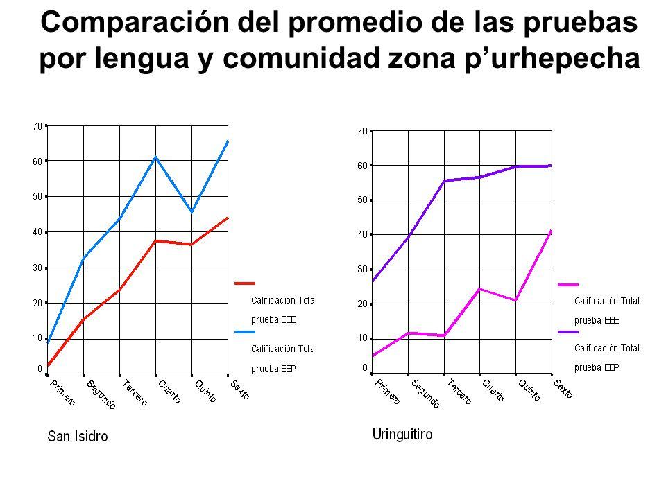 Comparación del promedio de las pruebas por lengua y comunidad zona purhepecha