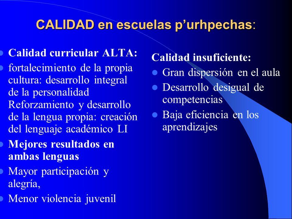 CALIDAD en escuelas purhpechas: Calidad curricular ALTA: fortalecimiento de la propia cultura: desarrollo integral de la personalidad Reforzamiento y