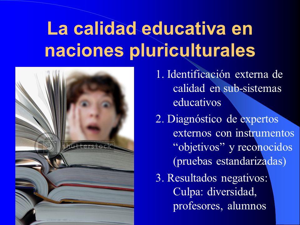 La calidad educativa en naciones pluriculturales 1. Identificación externa de calidad en sub-sistemas educativos 2. Diagnóstico de expertos externos c