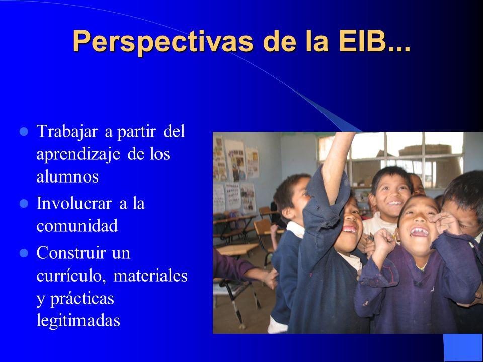 Perspectivas de la EIB... Trabajar a partir del aprendizaje de los alumnos Involucrar a la comunidad Construir un currículo, materiales y prácticas le