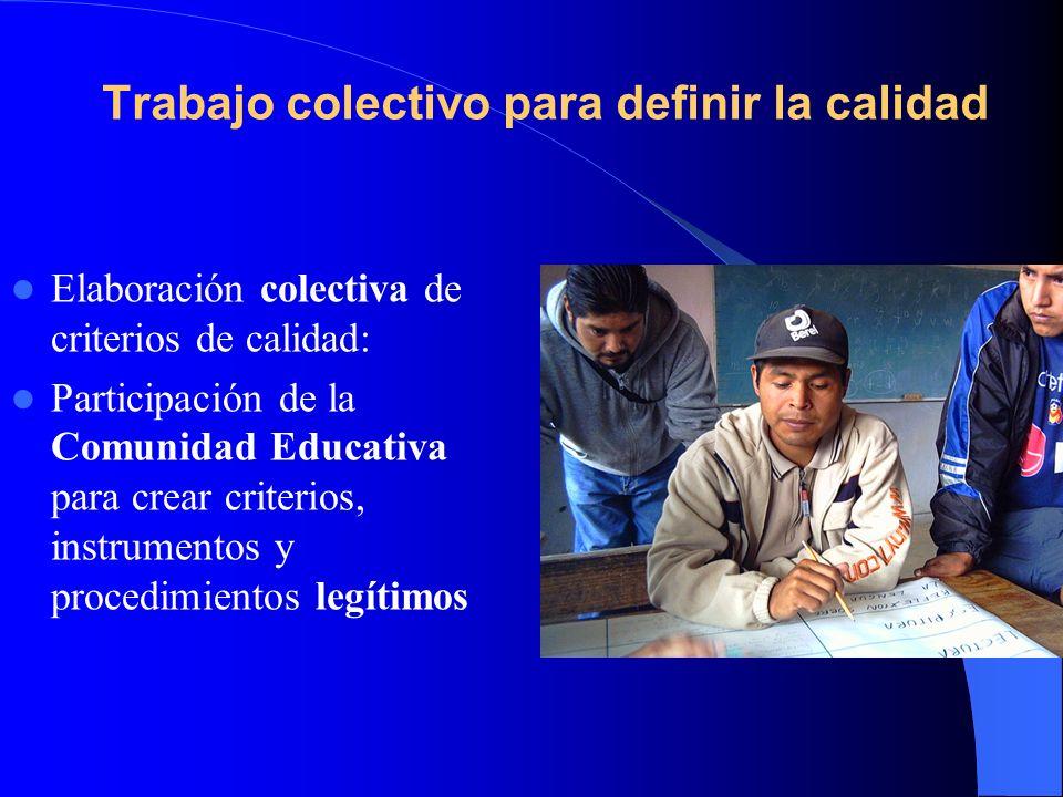 Trabajo colectivo para definir la calidad Elaboración colectiva de criterios de calidad: Participación de la Comunidad Educativa para crear criterios,