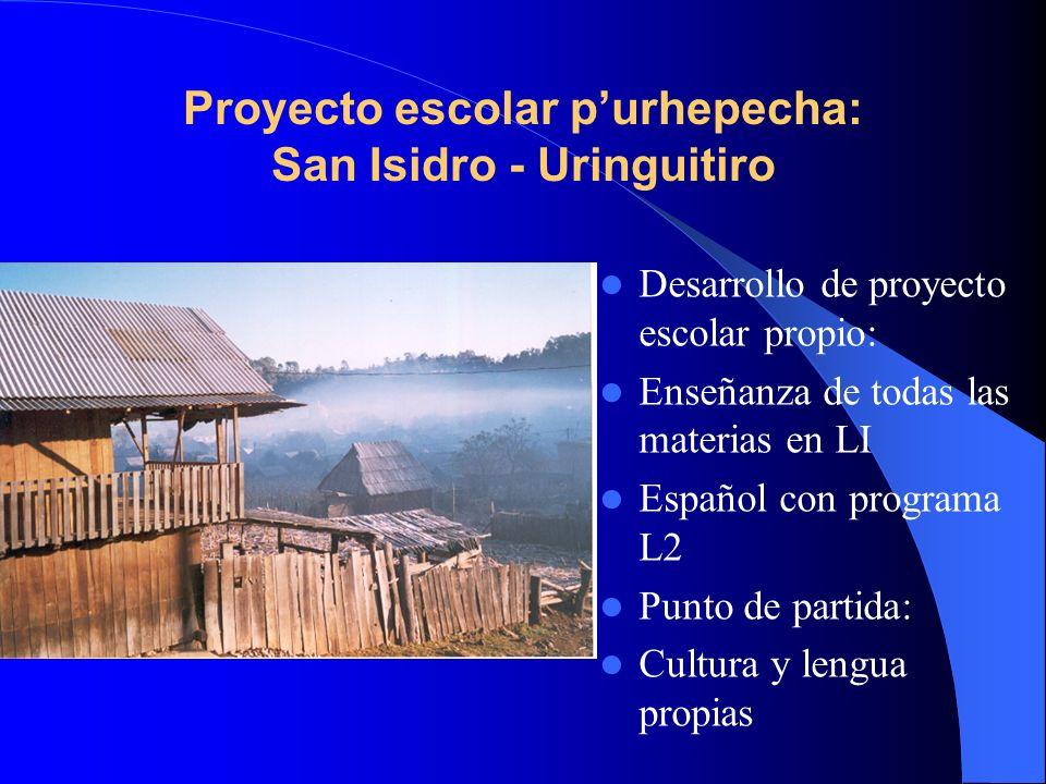 Proyecto escolar purhepecha: San Isidro - Uringuitiro Desarrollo de proyecto escolar propio: Enseñanza de todas las materias en LI Español con program