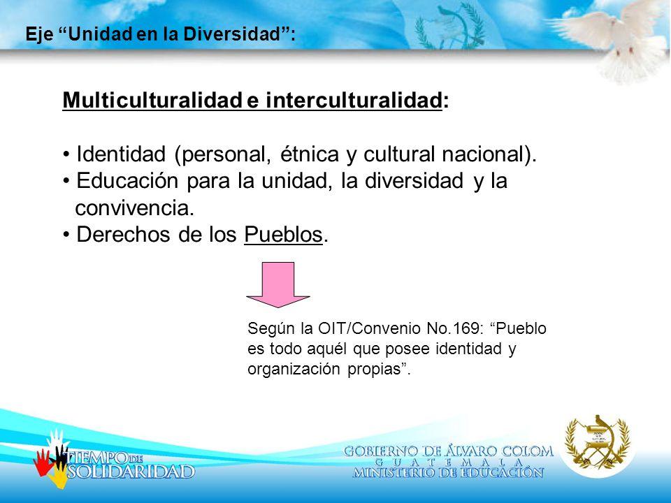 Eje Unidad en la Diversidad: Multiculturalidad e interculturalidad: Identidad (personal, étnica y cultural nacional). Educación para la unidad, la div