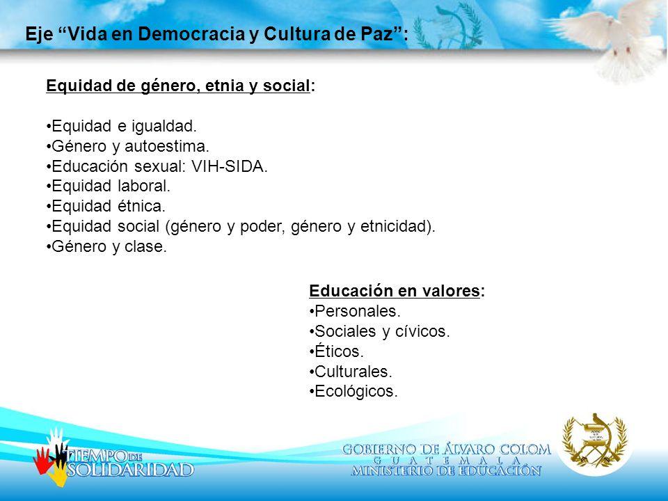 Eje Vida en Democracia y Cultura de Paz: Equidad de género, etnia y social: Equidad e igualdad. Género y autoestima. Educación sexual: VIH-SIDA. Equid