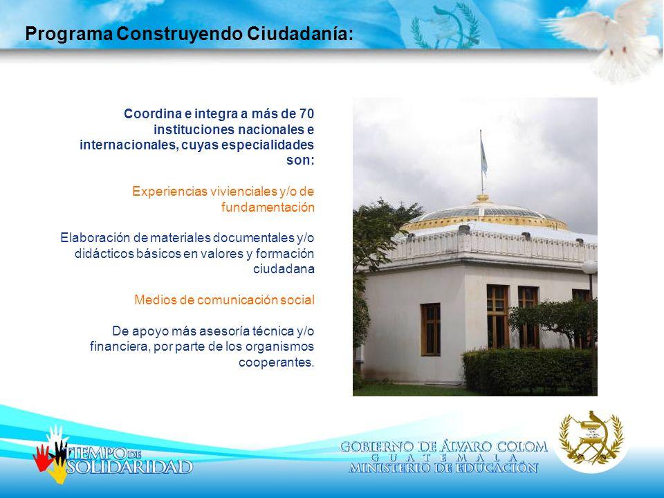 Coordina e integra a más de 70 instituciones nacionales e internacionales, cuyas especialidades son: Experiencias vivienciales y/o de fundamentación E