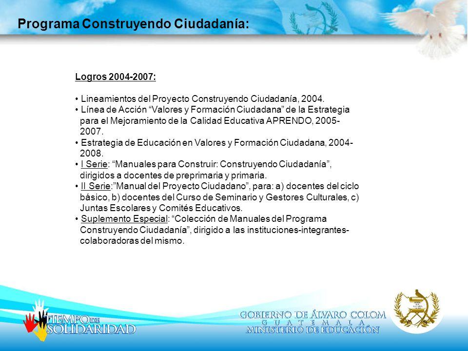 Logros 2004-2007: Lineamientos del Proyecto Construyendo Ciudadanía, 2004. Línea de Acción Valores y Formación Ciudadana de la Estrategia para el Mejo