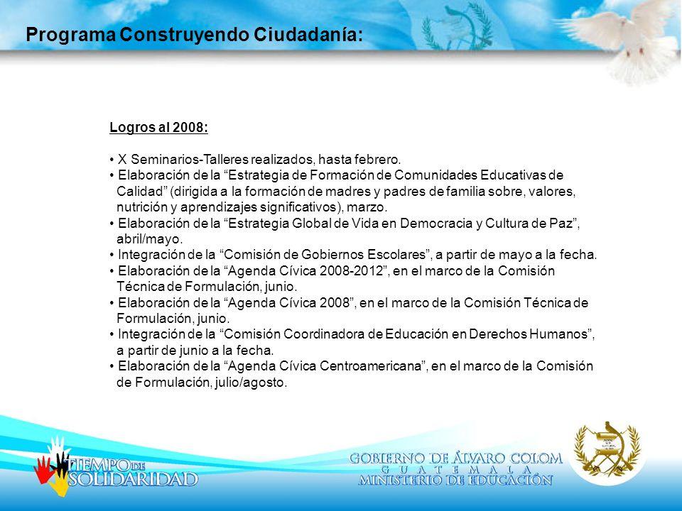 Programa Construyendo Ciudadanía: Logros al 2008: X Seminarios-Talleres realizados, hasta febrero. Elaboración de la Estrategia de Formación de Comuni