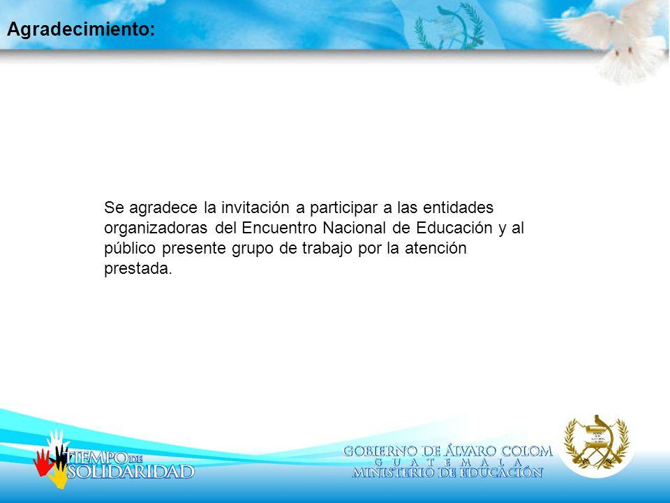 Agradecimiento: Se agradece la invitación a participar a las entidades organizadoras del Encuentro Nacional de Educación y al público presente grupo d