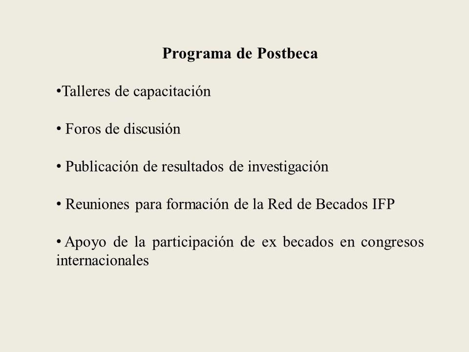 Programa de Postbeca Talleres de capacitación Foros de discusión Publicación de resultados de investigación Reuniones para formación de la Red de Becados IFP Apoyo de la participación de ex becados en congresos internacionales