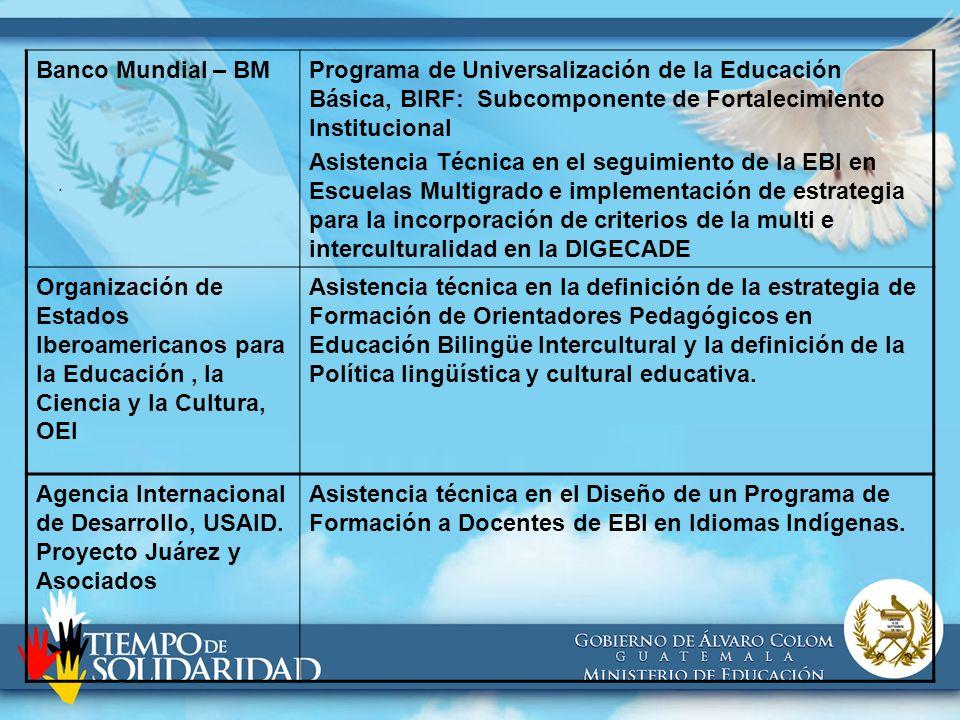 . Banco Mundial – BMPrograma de Universalización de la Educación Básica, BIRF: Subcomponente de Fortalecimiento Institucional Asistencia Técnica en el