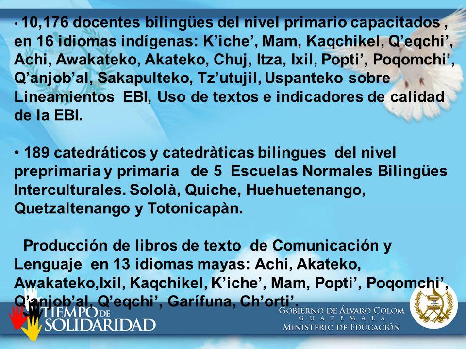10,176 docentes bilingües del nivel primario capacitados, en 16 idiomas indígenas: Kiche, Mam, Kaqchikel, Qeqchi, Achi, Awakateko, Akateko, Chuj, Itza
