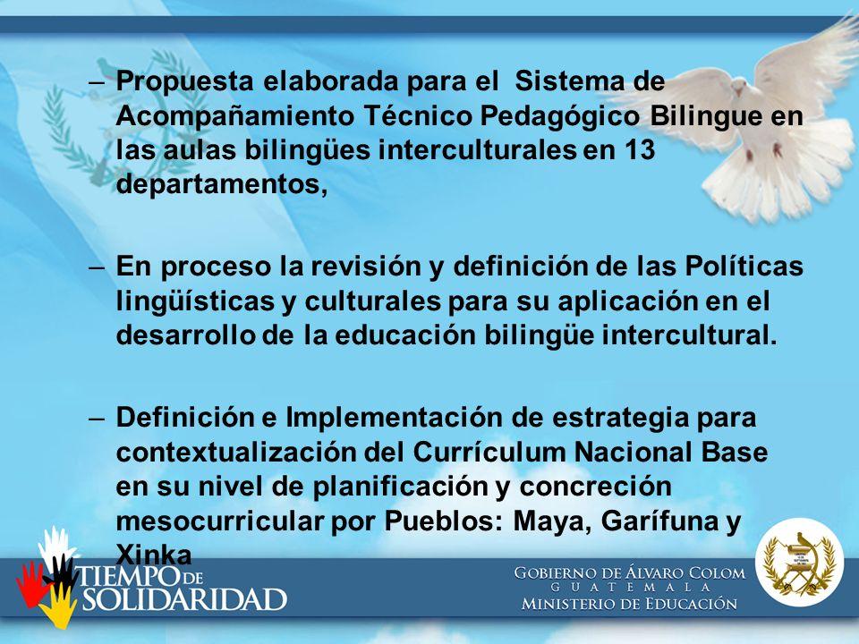 –Propuesta elaborada para el Sistema de Acompañamiento Técnico Pedagógico Bilingue en las aulas bilingües interculturales en 13 departamentos, –En pro