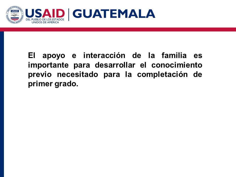 El apoyo e interacción de la familia es importante para desarrollar el conocimiento previo necesitado para la completación de primer grado.