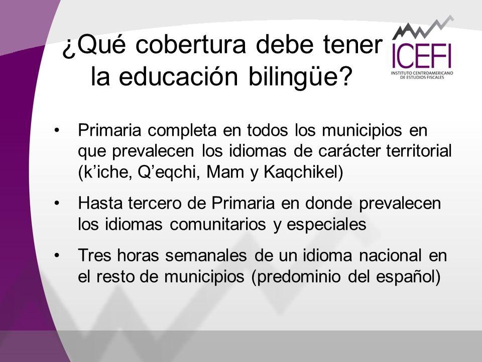 Primaria completa en todos los municipios en que prevalecen los idiomas de carácter territorial (kiche, Qeqchi, Mam y Kaqchikel) Hasta tercero de Prim