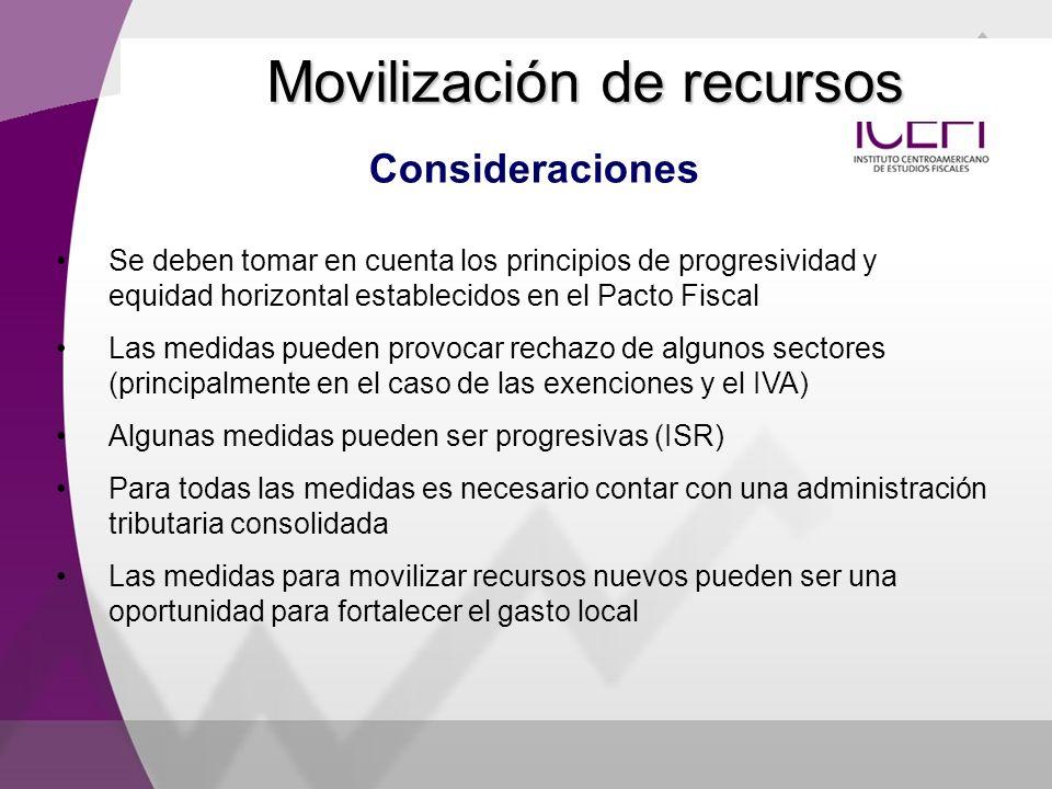 Consideraciones Movilización de recursos Se deben tomar en cuenta los principios de progresividad y equidad horizontal establecidos en el Pacto Fiscal