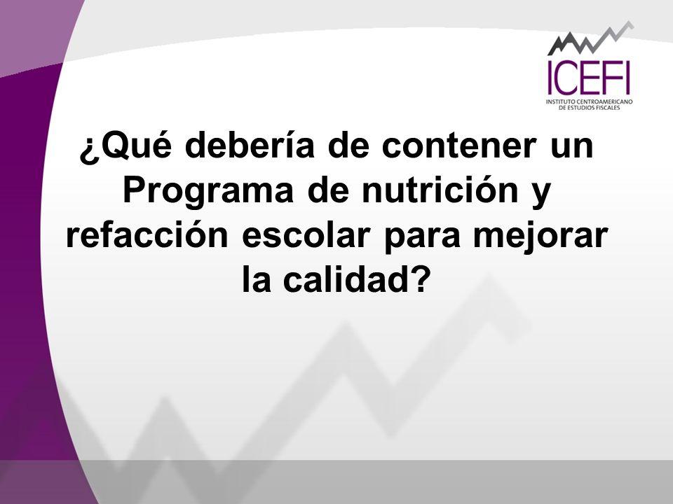 ¿Qué debería de contener un Programa de nutrición y refacción escolar para mejorar la calidad?