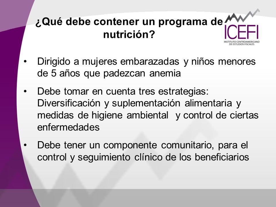 ¿Qué debe contener un programa de nutrición? Dirigido a mujeres embarazadas y niños menores de 5 años que padezcan anemia Debe tomar en cuenta tres es