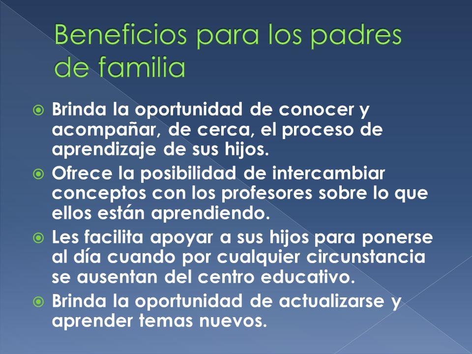Brinda la oportunidad de conocer y acompañar, de cerca, el proceso de aprendizaje de sus hijos. Ofrece la posibilidad de intercambiar conceptos con lo