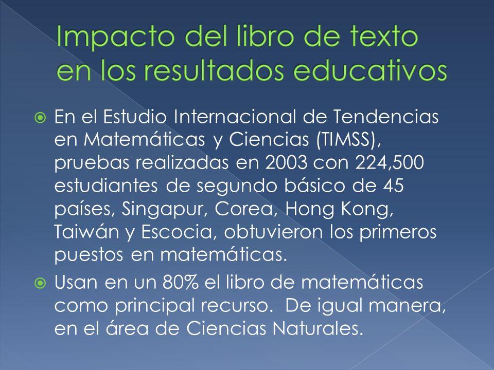 En el Estudio Internacional de Tendencias en Matemáticas y Ciencias (TIMSS), pruebas realizadas en 2003 con 224,500 estudiantes de segundo básico de 4