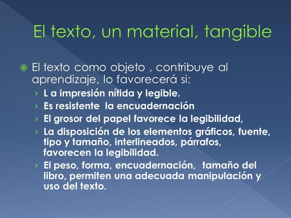 El texto como objeto, contribuye al aprendizaje, lo favorecerá si: L a impresión nítida y legible. Es resistente la encuadernación El grosor del papel