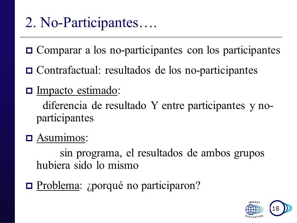 19 No-participantes Ejemplo 1 Programa de capacitación laboral Comparar el empleo y los ingresos de los participantes con los no participantes ¿Quién participa.