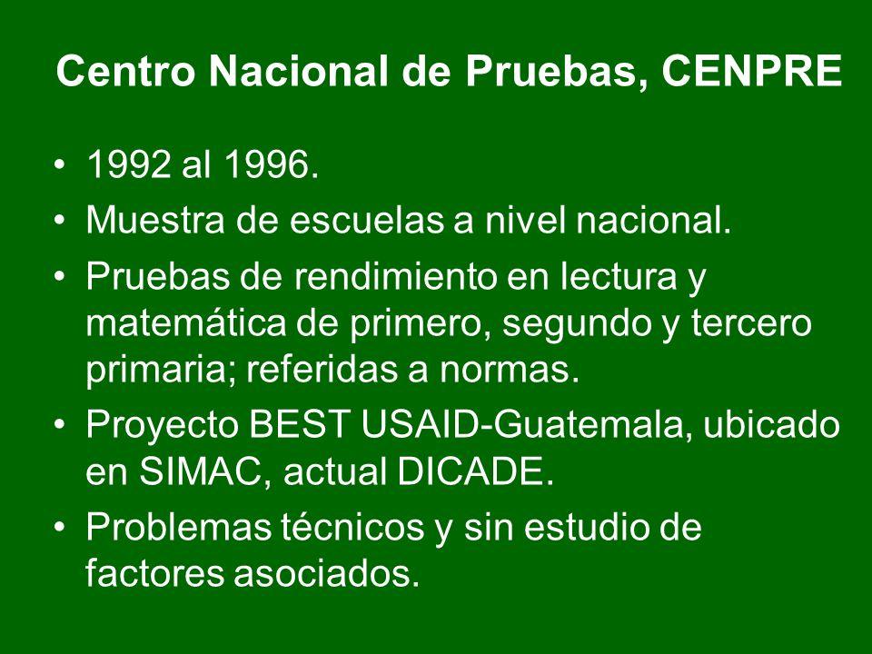 Centro Nacional de Pruebas, CENPRE 1992 al 1996. Muestra de escuelas a nivel nacional. Pruebas de rendimiento en lectura y matemática de primero, segu
