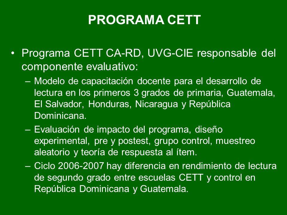 PROGRAMA CETT Programa CETT CA-RD, UVG-CIE responsable del componente evaluativo: –Modelo de capacitación docente para el desarrollo de lectura en los primeros 3 grados de primaria, Guatemala, El Salvador, Honduras, Nicaragua y República Dominicana.